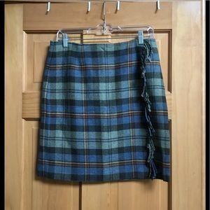 Talbots Wool Plaid Skirt With Fringe